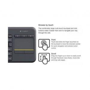 מקלדת אלחוטית Logitech Touch K400 Plus Retail בצבע שחור